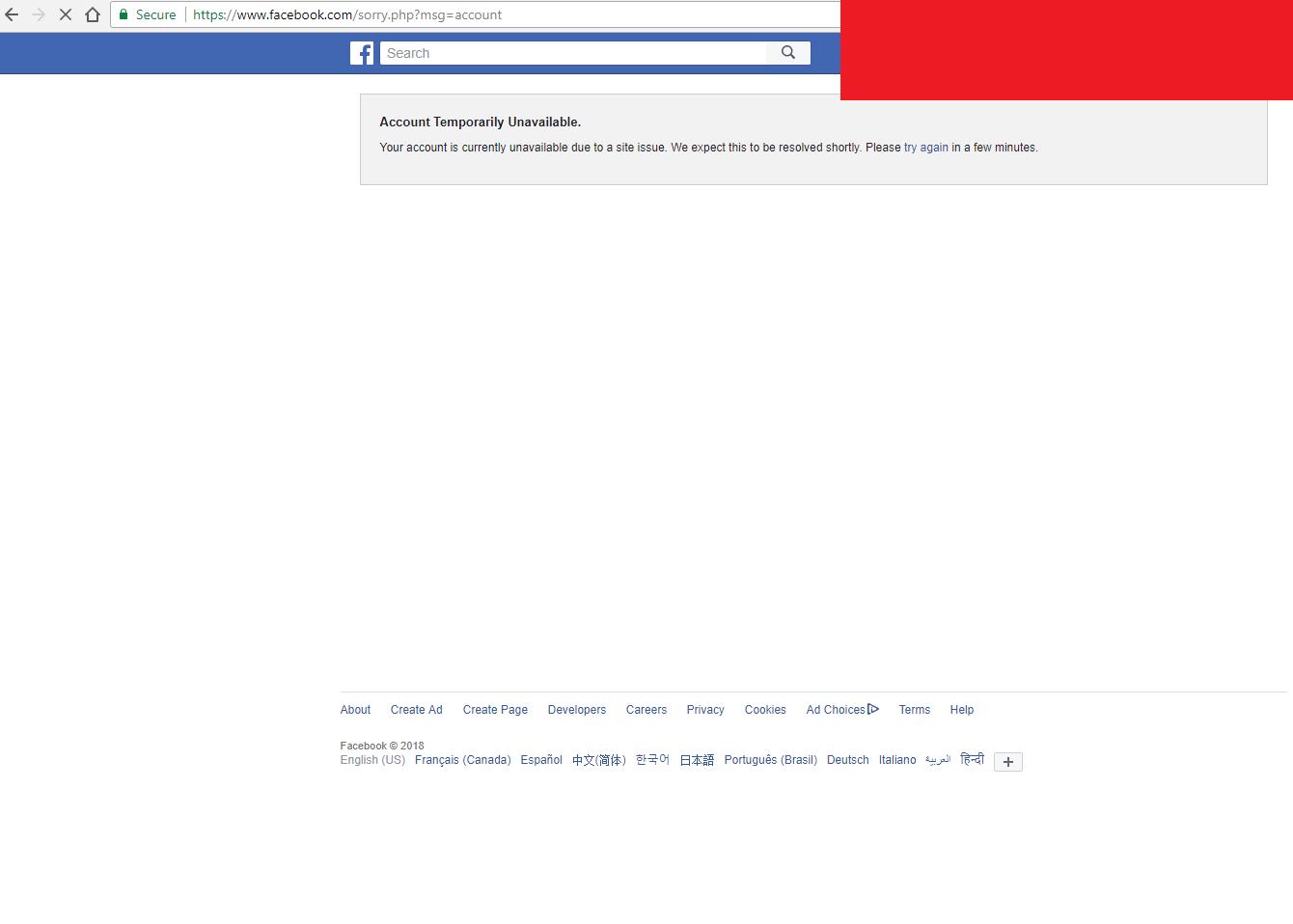 Facebook site issue